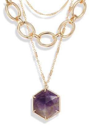 Halogen® Hexagon Stone Pendant Layered Collar Necklace   Nordstrom