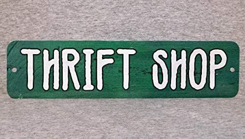 """Amazon.com: Metal Sign Thrift Shop Store Charity Used Clothing Second Hand Vintage Resale Opportunity Goods Cds Furniture Consignment Thrifting Retail,Aluminum Plaque Wall Art Poster 12""""x3"""": Home & Kitchen"""