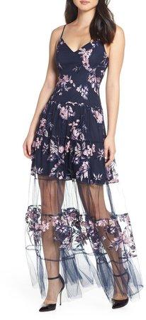 Sheer Hem Tulle Maxi Dress
