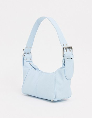 ASOS DESIGN shoulder bag in grainy pastel blue with buckle strap   ASOS