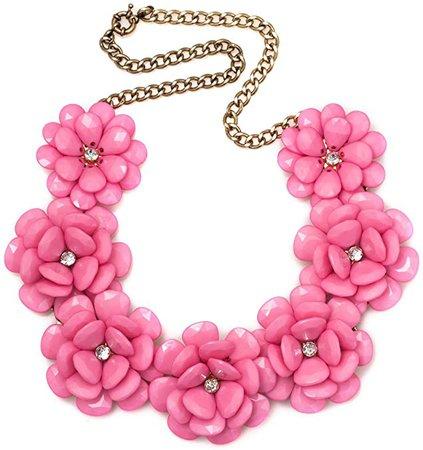 Amazon.com: Q&Locket Colorful Chunky Flower Bib Choker Statement Necklace for Women (Rose Pink): Jewelry