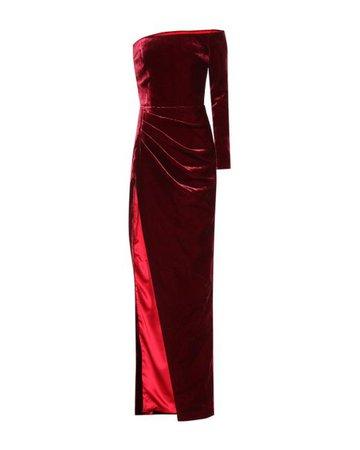 Rasario Women's Red One-shoulder Velvet Gown