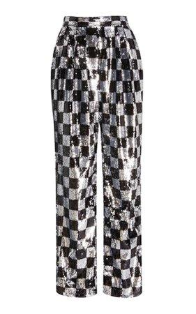 rodarte checkered straight leg pants