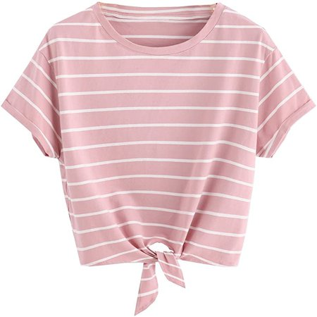 ROMWE Women's Knot Front Long Sleeve Striped Crop Top Tee T-shirt, Yellow & White, Large / US 8-10 at Amazon Women's Clothing store