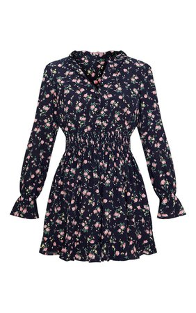 Navy Ditsy Floral Shirred Waist Shirt Mini Dress | PrettyLittleThing USA