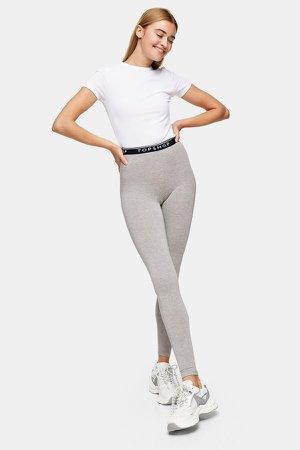 Gray Marl Branded Elastic Leggings