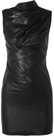 Holly Ruched Textured-leather Mini Dress - Black