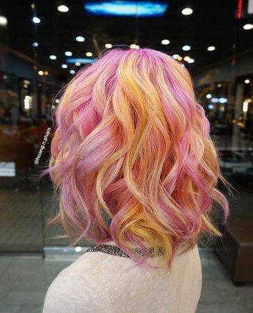 pink yellow hair