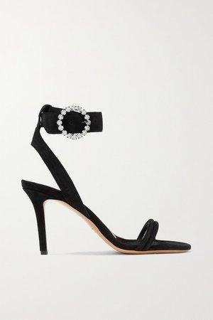 Alapee Crystal-embellished Suede Sandals - Black