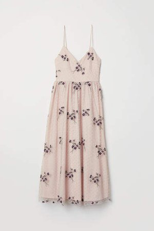 Embroidered Mesh Dress - Pink