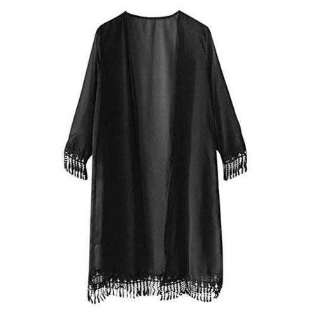 Makalon Women Short Sleeve Tassel Chiffon Top Shawl Kimono (Free, Black)
