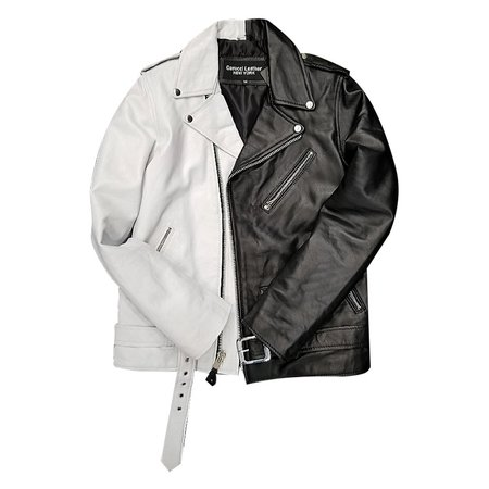 half black half white jacket - Google Search
