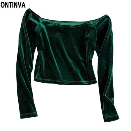 Dark-Green Velvet Off-The-Shoulder Top