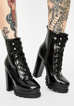 Patent Vegan Leather Lace Up Ankle Boots - Black | Dolls Kill
