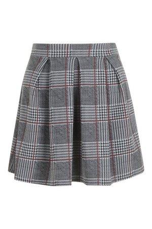 Petite Checked Box Pleat Skater Skirt | Boohoo