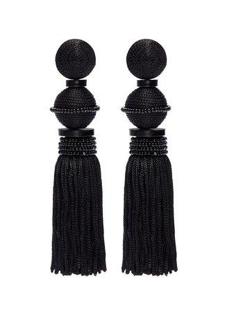 Oscar de la Renta - Beaded tassel clip earrings