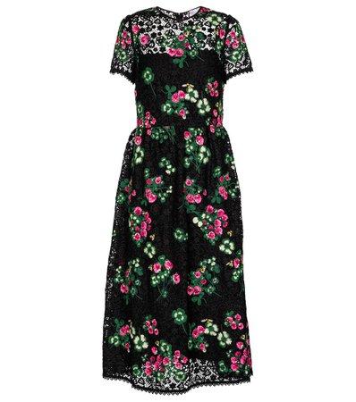 REDV - REDValentino floral crochet midi dress | Mytheresa