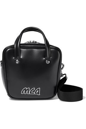 Ivy small logo-appliquéd glossed-leather shoulder bag   McQ Alexander McQueen   Sale up to 70% off   THE OUTNET