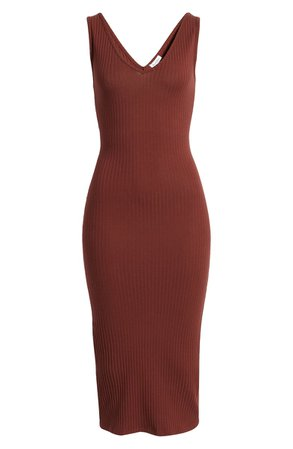 Love, Fire Ribbed Body-Con Midi Dress | Nordstrom