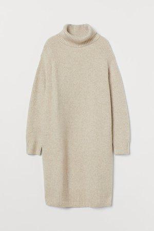 Knit Turtleneck Dress - Beige