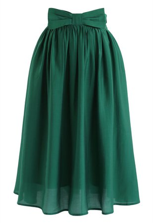 Chic Wish Bowknot Waist Pleated Midi Skirt in Emerald - Retro, Indie and Unique Fashion