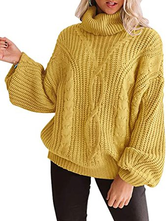 ZESICA Women's Long Sleeve Turtleneck Chunky Knit Loose Oversized Sweater Pullover Jumper Tops Yellow at Amazon Women's Clothing store