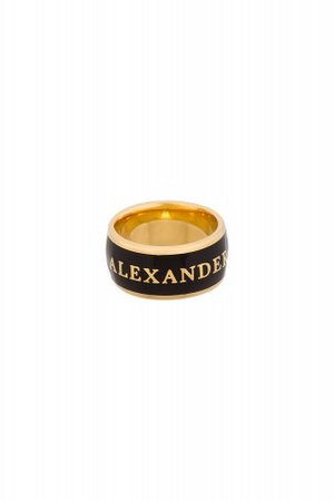 ALEXANDER MCQUEEN BLACK AND GOLD RING