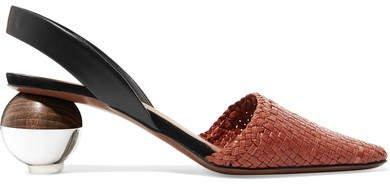 Neous - Woven Leather Slingback Pumps - Tan