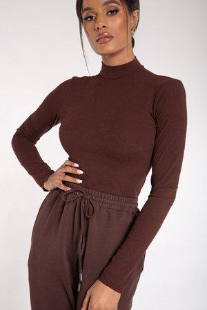 Lexie Long Sleeve Bodysuit - Chocolate - MESHKI U.S