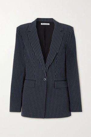 Navy Dama pinstripe cady blazer | Reformation | NET-A-PORTER