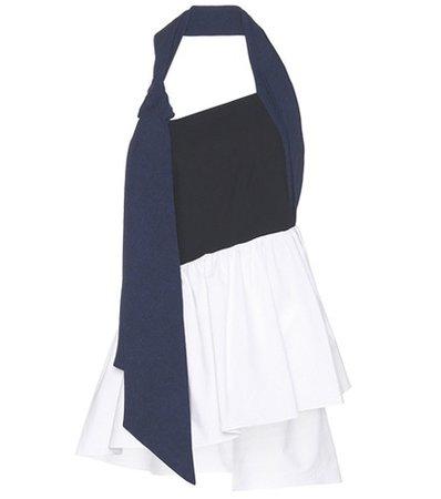 Asymmetric cotton-blend top