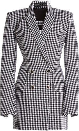 David Koma Houndstooth Mini Dress
