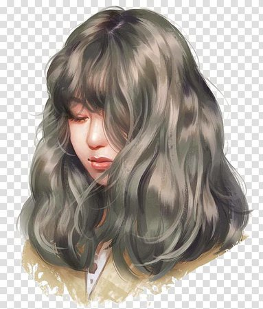 Female portrait animated , Drawing Work of art Painting Anime, Long-haired girl transparent background PNG clipart | PNGGuru