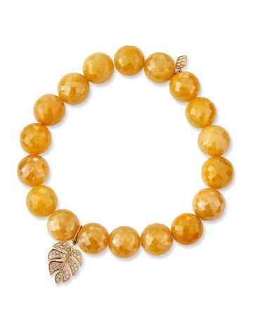 Sydney Evan Yellow Silverite & Diamond Monstera Leaf Bracelet