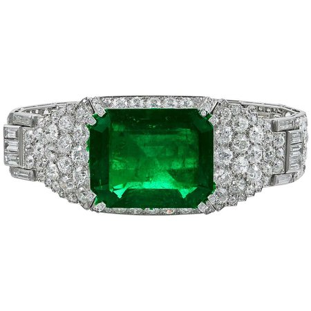 Cartier Colombian Emerald and Diamond Bracelet For Sale at 1stDibs