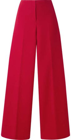Cotton-twill Wide-leg Pants - Red
