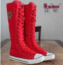 HOT Women's Shoes Punk EMO Sneaker Lace Up Zip Boot Knee High Flat Tall Boots | eBay