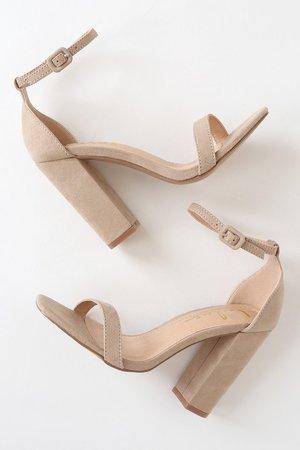Cute Natural Suede Heels - High Heel Sandals - Square Toe Heels