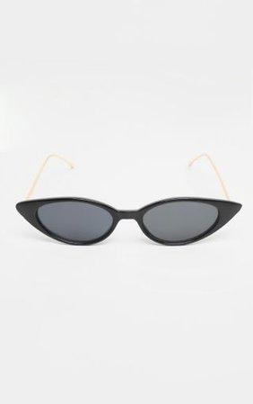 Black Cat Eye Retro Frame Sunglasses | PrettyLittleThing