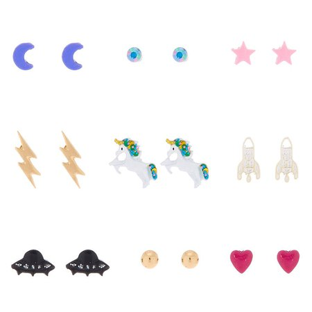 Space Unicorn Stud Earrings - 9 Pack | Claire's US