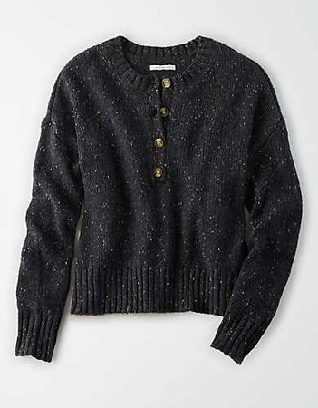 AE Slouchy Henley Sweater black