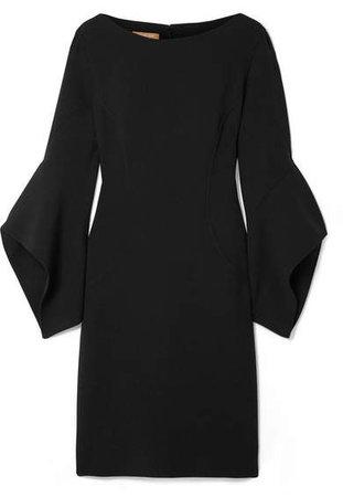 Draped Wool-blend Mini Dress - Black