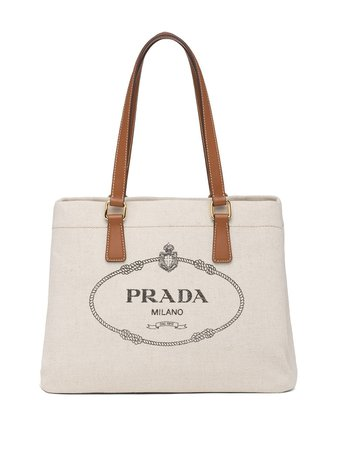 Prada Logo Print Canvas Tote Bag Aw20 | Farfetch.Com