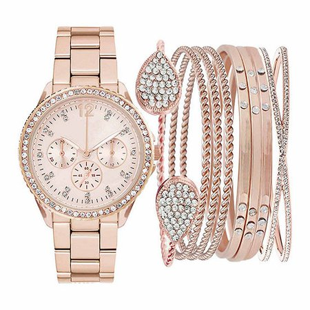 Womens Rose Gold-Tone Crystal-Accent Watch Box Set - JCPenney