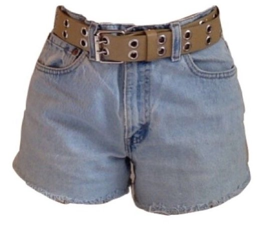 Jean shorts with light brown belt ❤︎