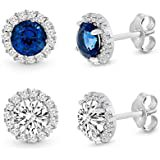 Emarald Swarovski Crystal Stud Earrings 18K White Gold Plated with AAAA Cubic Zircon Stone Women Girls Jewellery