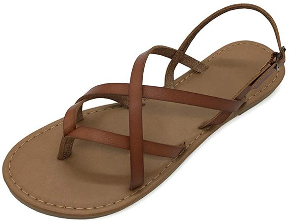 Amazon.com | Women's Gladiator Flat Sandals Fisherman Strappy Sandals Ankle Strap Sandals (Brown, 9) | Flats
