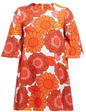 Zosha Floral Print Crepe Mini Dress - Womens - Orange White