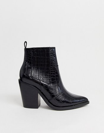ASOS DESIGN Elliot western ankle boots in black croc | ASOS