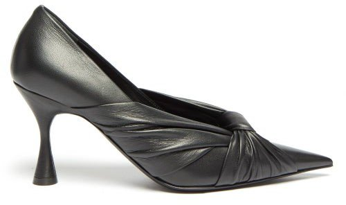Drapy Pointed Wrapped-leather Pumps - Black